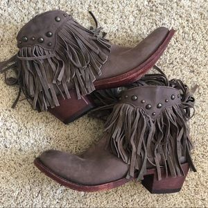 NEW Shyanne Leather Fringe Ankle Boots - Womens 9
